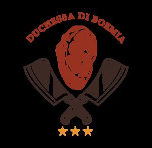logo carne rossa con due coltelli e tre stelle